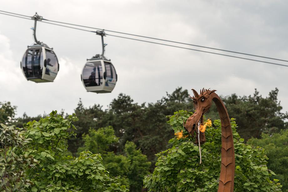 Floriade 2012 in Venlo; gondola's en vuurspuwende draak