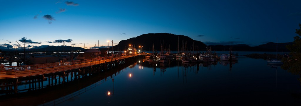 Cowichan Bay sunset panorama