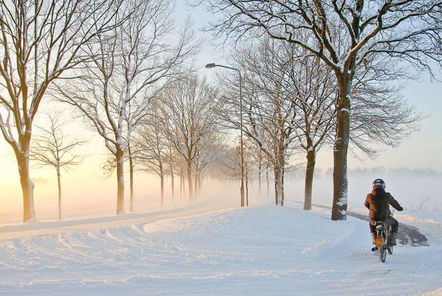 Besneeuwde weg in Noord-Brabant