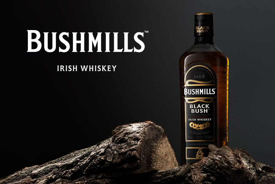 Bushmills whiskey bottle product photography