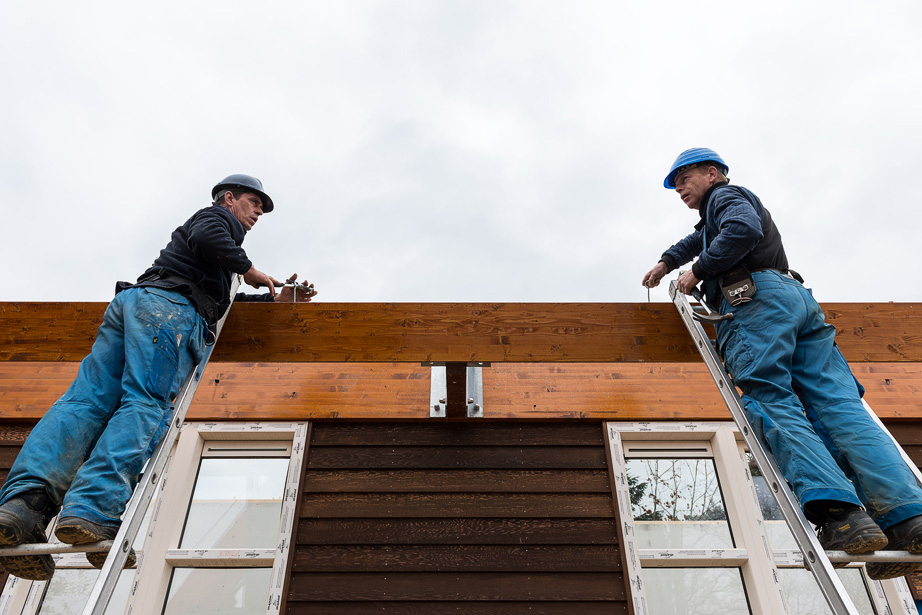 Fotoreportage bouw plaatsing woningen