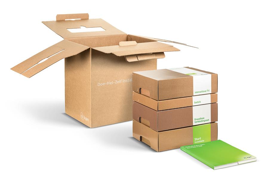 Productfotografie van een KPN doos verpakking