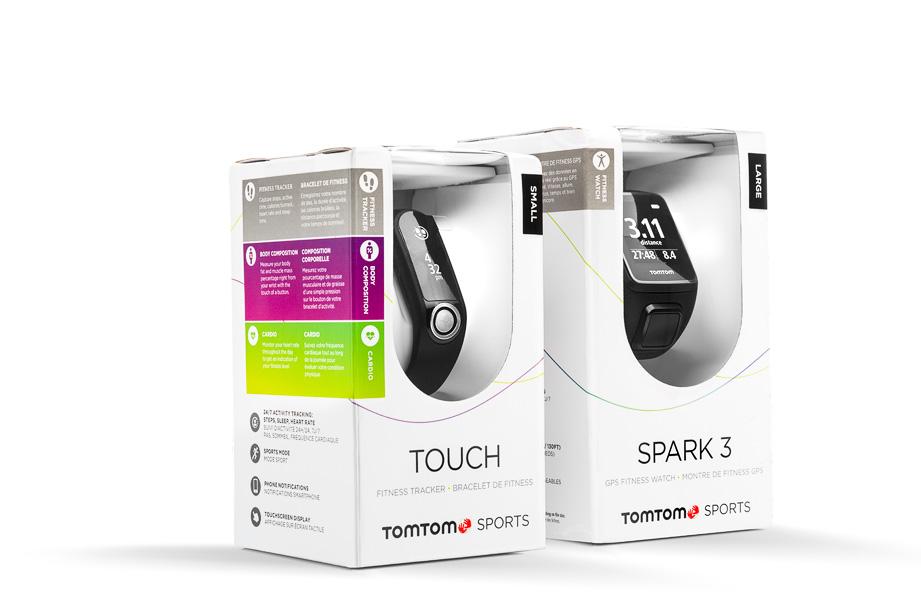 Packshots van de verpakkingen van TomTom GPS Watches