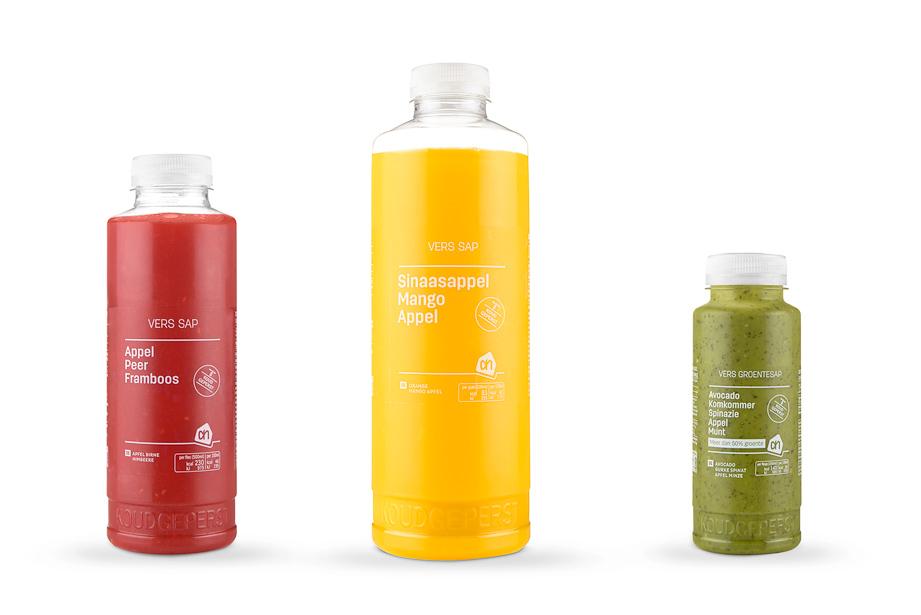 Albert Heijn vers sap flessen productfoto's